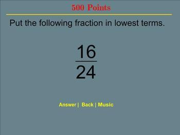 Fraction Jeopardy - Smartboard