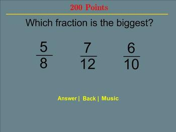 Fraction Jeopardy - Smartboard