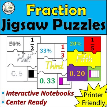 Fraction Jigsaw Puzzles. Perfect for Interactive Notebooks and Math Revision!