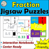 Fraction Jigsaw Puzzles. Perfect for Interactive Notebooks