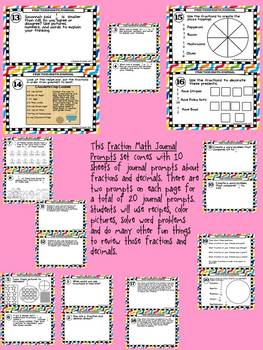 Fraction Journal Math Prompts