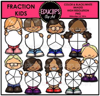 Fraction Kids Clip Art Bundle {Educlips Clipart}