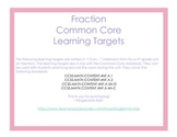 Fraction Learning Target Signs (Common Core)