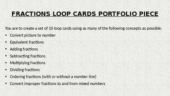 Fraction Loop Card Activity
