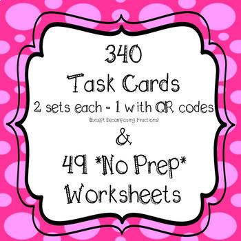 4th Grade Fractions *MEGA BUNDLE* 340 Task Cards & 49 *NO PREP* Worksheets