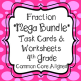 Fractions - 4th Grade Bundle Includes Task Cards &  Worksheets