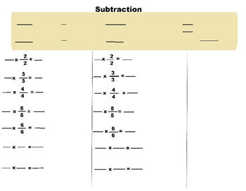 Fraction Mat For finding Equivalent Fractions for Addition and Subtraction