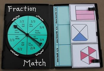 Fraction Match- 1/4  1/2  3/4