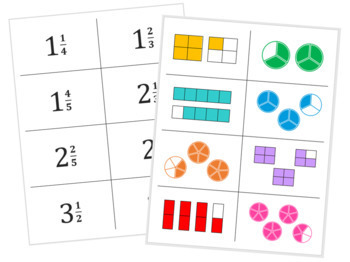 Fraction Match Up - Level 2 - Mixed Numbers & Improper Fractions