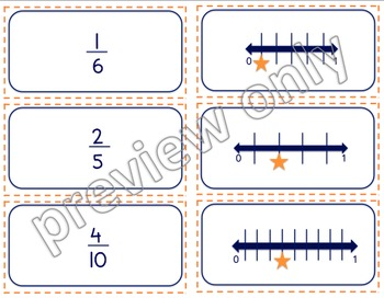 Fraction Match: number lines, word form, fractions, pictures