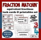 Fraction Matchin' – equivalent fractions task cards + printables (set a)