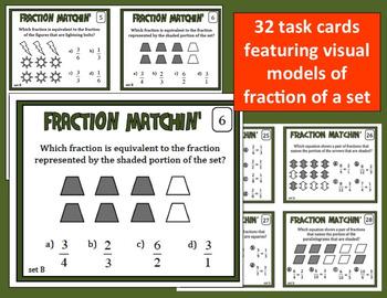 Fraction Matchin' – equivalent fractions task cards + printables (set b)