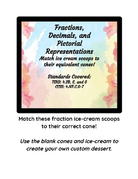 Fraction Matching with ice cream cones and scoops