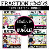 Fraction Math Centers Bundle Fraction Games & Activities TEKS Aligned