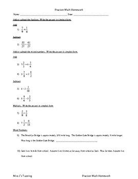 Fraction Math Homework