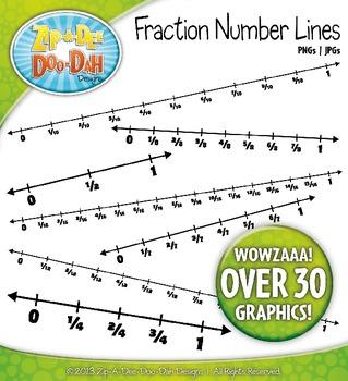 Fraction Math Number Lines Clipart {Zip-A-Dee-Doo-Dah Designs}