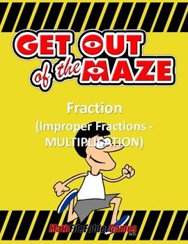Fraction Maze - Improper Fraction MULTIPLICATION
