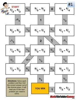 Fraction Maze - Improper Fraction SUBTRACTION