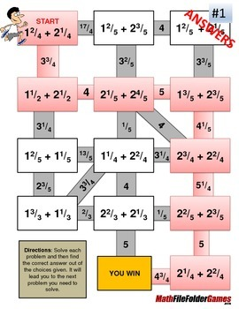 Fraction Maze - Mixed Numbers ADDITION