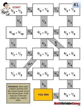 Fraction Maze - Subtraction