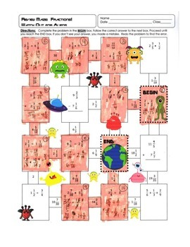 Fraction Maze: Watch Out for Aliens ~ Fractions with All Operations