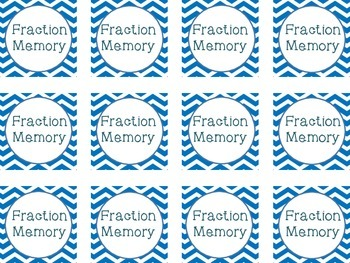 Fraction Memory Game Cards
