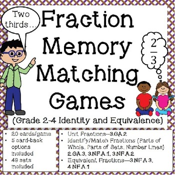 Fraction Games: Memory Matching (Grade 2-4 Identity and Equivalence)