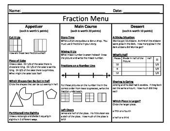 Fraction Menu 2