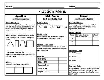 Fraction Menu 3