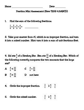 Fraction Mini Assessment (New TEKS 4.3ABCD)