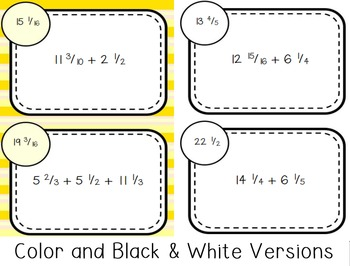 Fraction & Mixed Number Addition Self Checking Task Cards