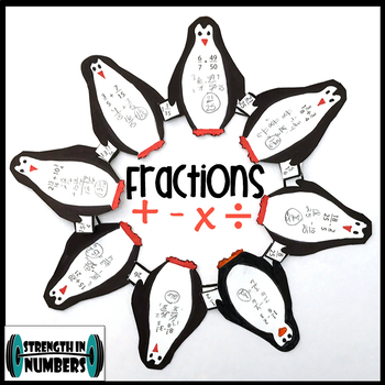 Fraction Mixed Numbers Operations Self Checking Winter Penguin Wreath