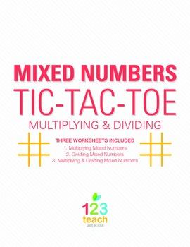 Multiply and Divide Mixed Numbers Review Game - Partner Activity Tic Tac Toe
