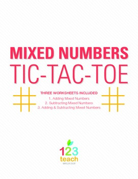 Fraction (Mixed Numbers) Review Game - Partner Activity Tic Tac Toe