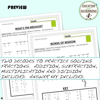 Operations with Fractions Coded Message Activity