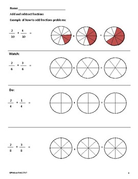 Fraction Models Addition and Subtraction Sample