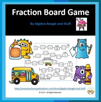 Fraction Monster Board Game with Flash Cards