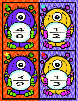Fraction Monsters- Equivalent Fraction , Adding and Subtracting, Problem Solving