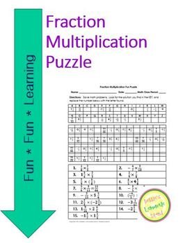 Fraction Multiplication Fun Puzzle Worksheet with Differentiated Version
