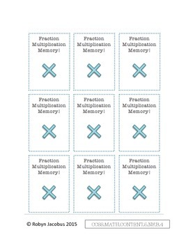 5th Grade CCSS Aligned Math: Fraction Multiplication Memory Game