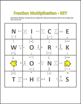 Fraction Multiplication Puzzle - Multiplying Fractions