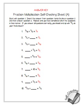 Fraction Multiplication Self-Checking Worksheets - Differentiated