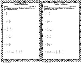 Fraction Multiplication & Simplification : RTI Intervention No Prep Fluency