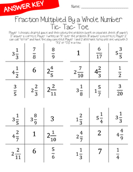 Fraction Multiplication Tic-Tac-Toe Game: Fraction Multiplied by a Whole Number
