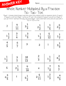Fraction Multiplication Tic-Tac-Toe Game: Whole Number Multiplied by a Fraction