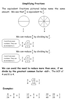 Fraction Notes (Basic Skills through Operations with Fractions)