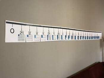 Fraction Number Line with Square Fraction Models for Classroom Wall