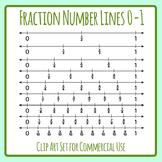 Fraction Number Lines / Numberlines 0-1 Clip Art Set for Commercial Use
