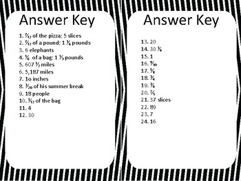 Fraction Number and Operations Mixed  Word Problems Task Cards Activity