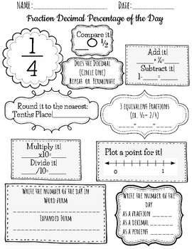Fraction OF THE DAY Daily Review Math Warm up Early finisher Bell ringer